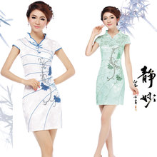 Lan smoke daily cheongsam 2013 new summer short paragraph cheongsam improved fashion summer retro dress