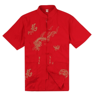 Set Po Chinese style hotels in Chinese middle and old-aged clothing short sleeve men's shirts short sleeve summer dress plus size