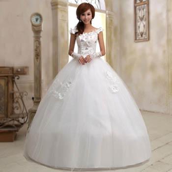 韩版婚纱齐地款2013婚纱最新款 婚纱花朵水钻蓬蓬裙 长款婚纱