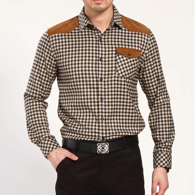 Рубашка мужская The same paragraph 2013 Весна Ткань в клетку С остроконечным лацканом Длинные рукава ( рукава > 57см )