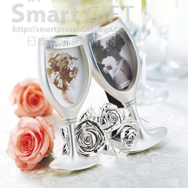 七夕礼物创意香槟对杯玫瑰相框相架画框