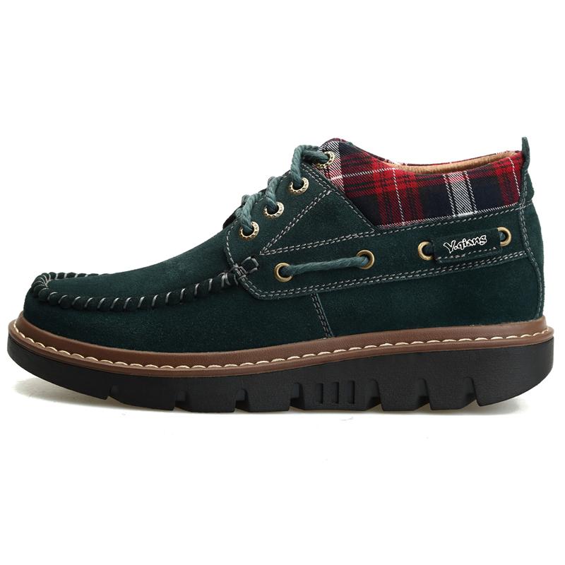 洋枪2013冬季流行板鞋英伦潮鞋 加毛反绒皮休闲鞋 厚底增高男鞋