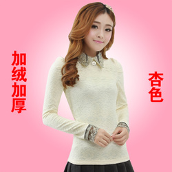 Thick warm high-necked long sleeve t shirt large size lace blouse yarn