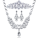 Qianse Bride [Special] thousands of colors Korean wedding rhinestone bridal Carlo children bridal necklace bridal sets of chain jewelry Parure