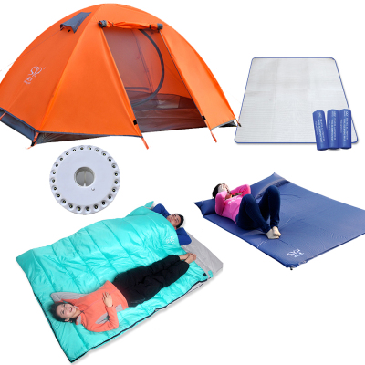 Shengyuan suite double camping tent camping tents, sleeping bags outdoor package of five sets of equipment packages