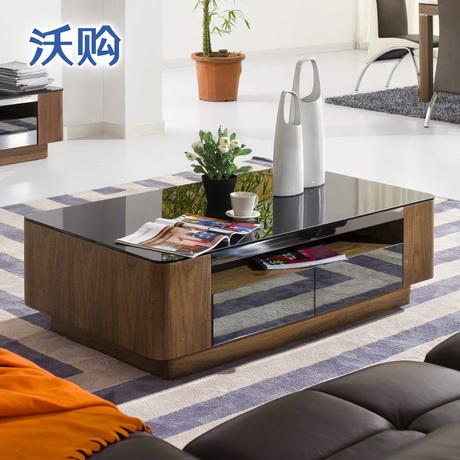 钢化玻璃实木茶几 现代简约小户型客厅办公室茶桌电视柜组合整装商品大图
