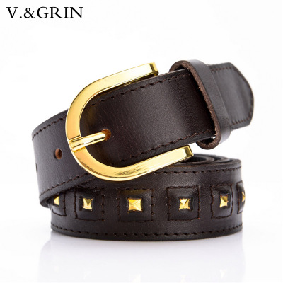 Vgrin han edition wide leather belt female fashion joker rivet belt belt decoration accessories pure head layer cowhide