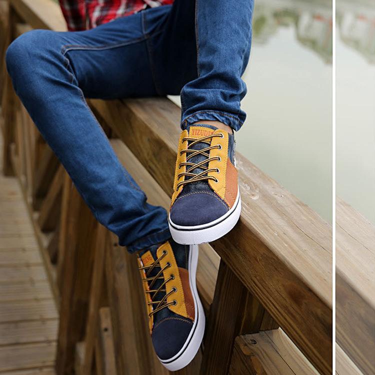 Кеды Высокая дышащая мужчин Холст обувь мужчин корейской версии из Англии в горох летом приливные Повседневная обувь моды Совет Обувь мужская обувь
