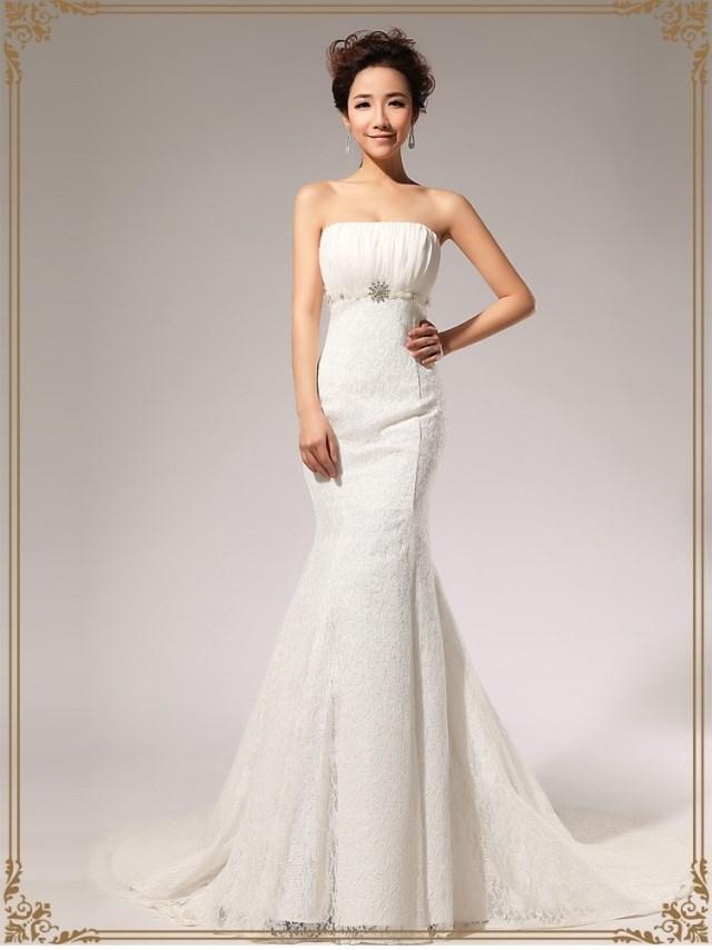 2013新款 蕾丝齐地中腰A裙 抹胸婚纱礼服长裙