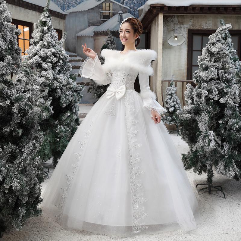 冬季婚纱礼服冬装2013新款韩版婚纱冬天长袖毛领加厚冬款棉婚纱05