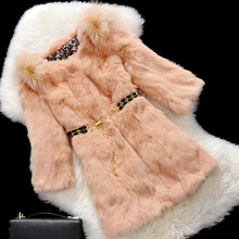 Fur coat with round collar