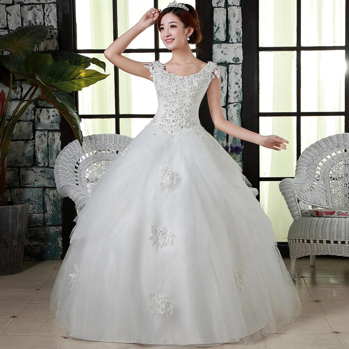 情海新娘婚纱礼服最新款2013韩版齐地包肩蕾丝宫廷绑带婚纱HS704