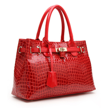 Red Valley Grete 2013 new leather handbags leather crocodile pattern leather bag bride bag glossy platinum