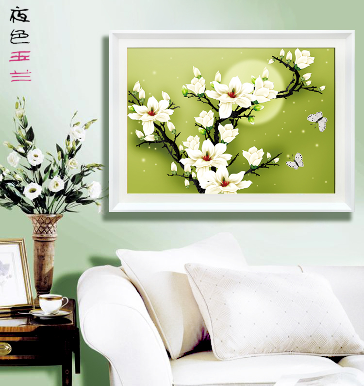 Accurate 3D printed cross stitch new living room bedroom series wire sharp new moon Magnolia 包邮