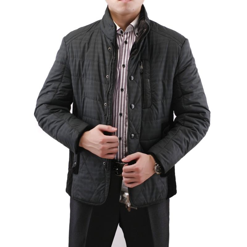 花花公子正品男装2013冬立领棉衣男士保暖外套男式格子棉服53019