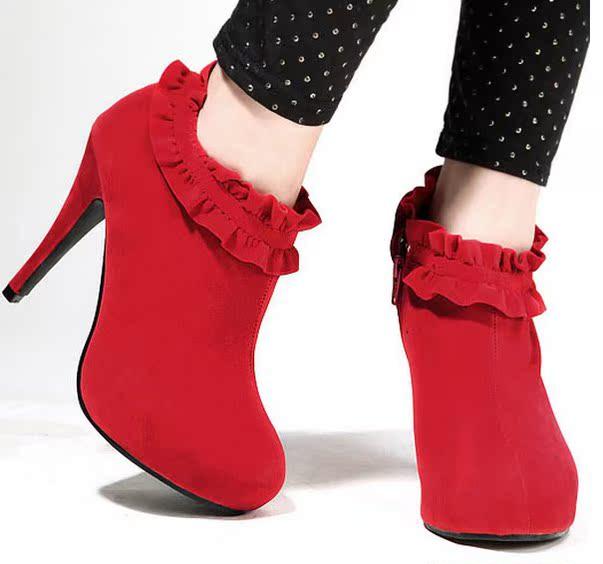 新款短靴新娘鞋结婚鞋子防水台花边鞋高跟女靴子 大量现货