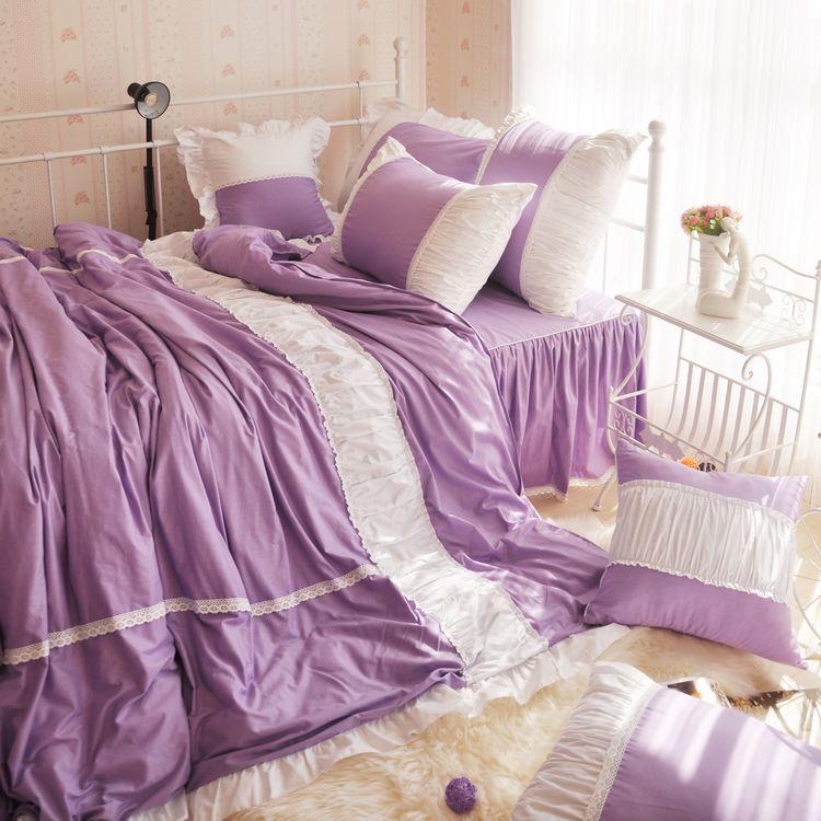 韩式家纺四件套床单被套全棉纯棉公主婚庆床上用品紫田园三四件套