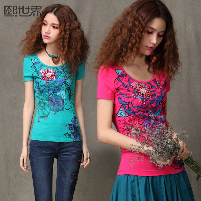Hee 2013 summer print slim fit shirts at the end of the world women's clothing women's t shirts short sleeve national wind 620