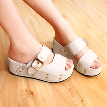 The summer word drag fresh thick crust slope with waterproof sandals and slippers fish head heel Women muffin sandals women