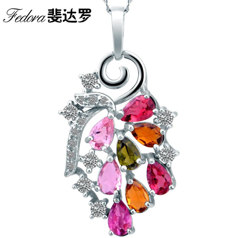 斐达罗专柜 天然碧玺吊坠锁骨链 925银彩色宝石项链 女款特价包邮