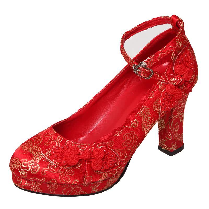 天使依涵 红色锦缎系带婚鞋 旗袍鞋 古典红色鞋子 新娘鞋993