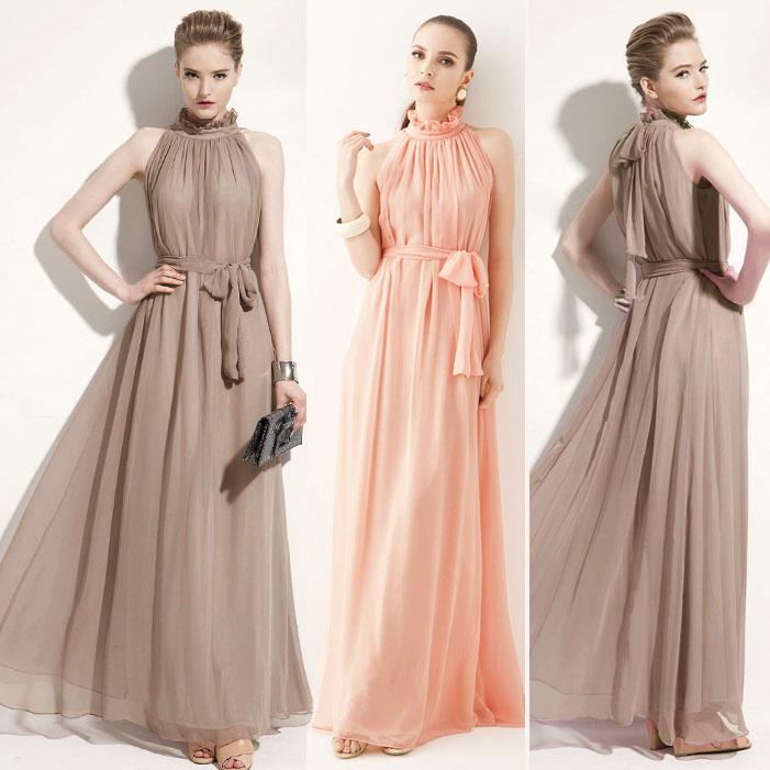 Прическа с длинным платьем из шифона