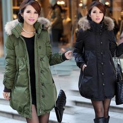 [半价巨划算]2013秋冬新款韩版特大码女装 宽松加厚连帽带毛领中长款羽绒服
