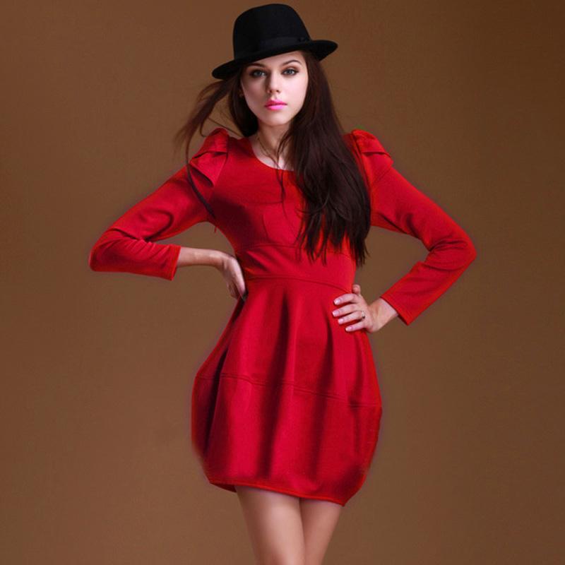 欧美秋冬2013新款气质品牌加大码高腰结婚礼服修身显瘦红色连衣裙