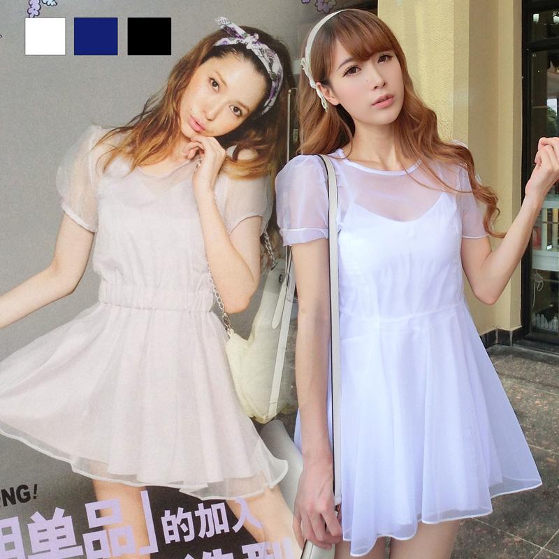 sevi家 vivi杂志两件套透明抹胸短袖网纱雪纺连衣裙 甜美夏季女装
