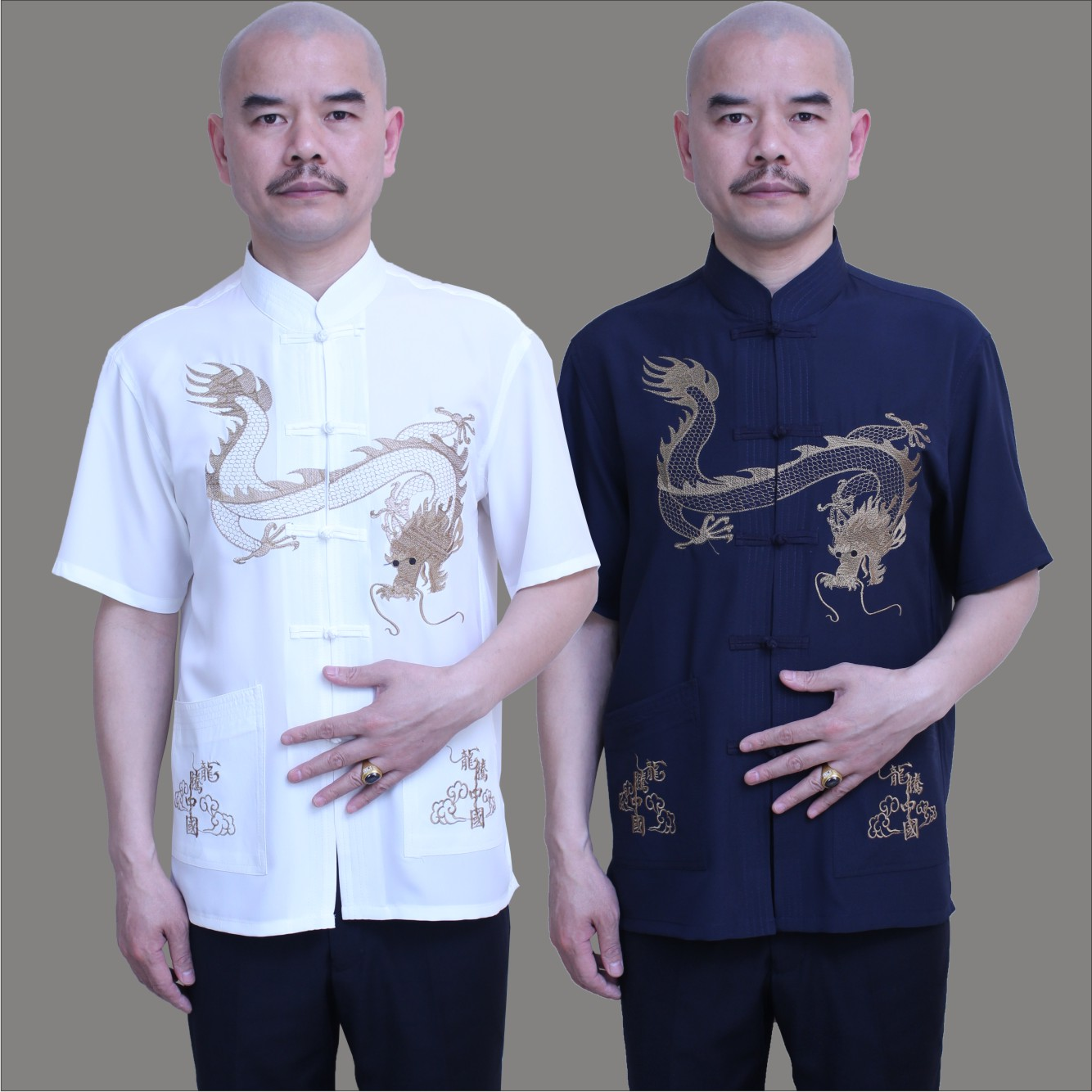 中老年服裝男士唐裝短袖唐裝男式夏裝 唐裝男 短袖夏季中國龍唐裝圖片
