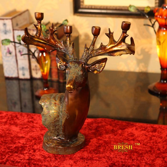 限时特价欧式家居装饰品福禄鹿头烛台摆件摆设树脂工艺品结婚礼品图片