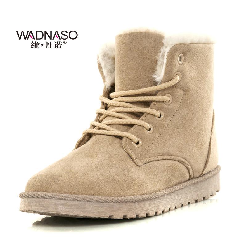 维丹诺新款欧美明星雪地靴 街头厚底马丁短靴 系带经典女靴棉靴子