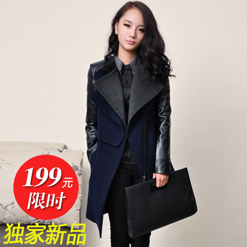 Winter clothing new European and American wind spell MaxMara cashmere coat with leather sleeves leptin Barret coat woolen cloth of thick jacket woman