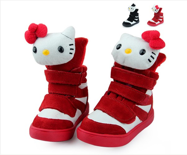 2013 winter new children's leather shoes kitty cat girl princess girls casual cotton shoes boots