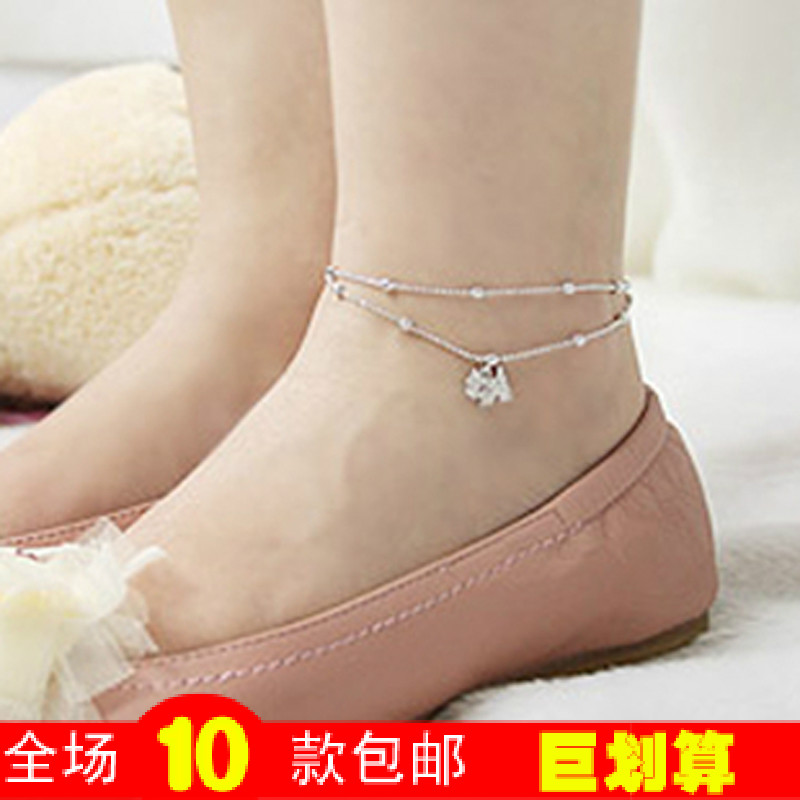 Multi-layer M20009 full rhinestone dog Crystal bells anklet female Korean American vintage fashion red rope new