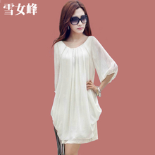 2013 summer new chiffon dress big yards was thin models summer Korean version bottoming skirt sleeve loose skirts