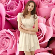 Chuaner 2013 summer new women's fashion short sleeve Slim was thin chiffon dress Korean children