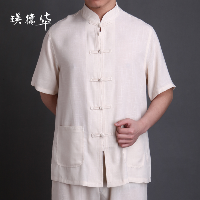 Ying Tak Wah retro, clothing men s old denim cotton and linen solid color base shirts clothing short sleeve shirt men