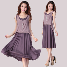2013 Korean version of the new spring and summer women chiffon vest dress chiffon dress skirt Slim was thin