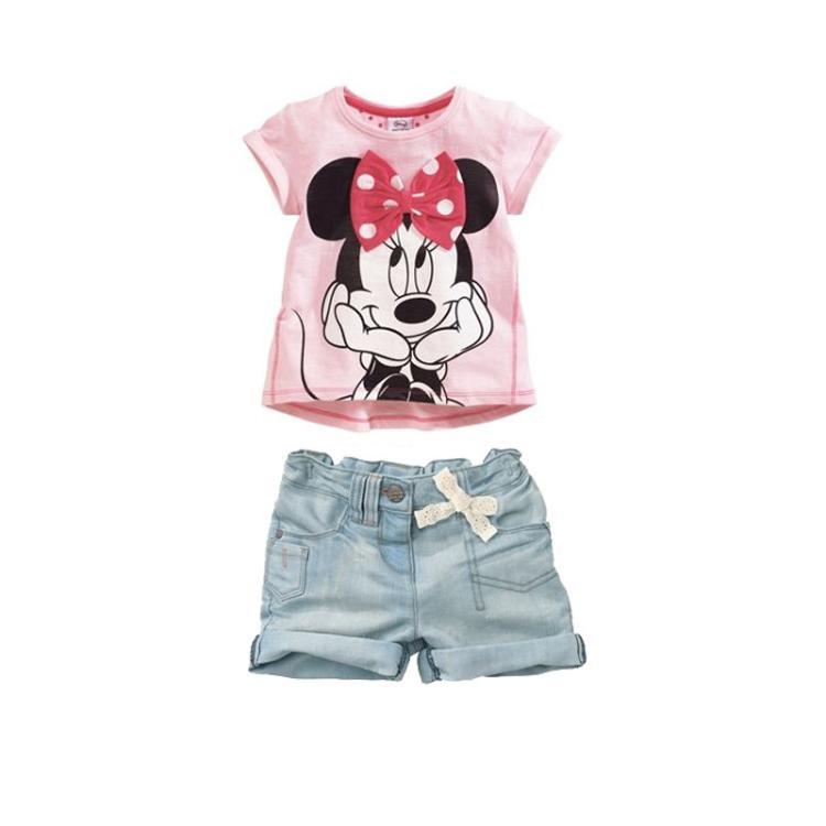 Весна, Детская одежда детской девочки короткие блузки faux джинсы мило малышей розовый Минни мышь Минни мышь костюмы SS240