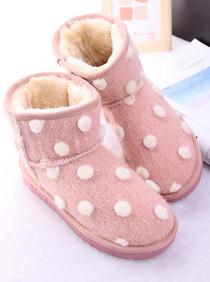 欧美大牌风甜美气质圆点装饰绒面防滑底雪地靴保暖女棉靴子