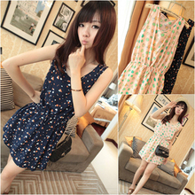 2013 summer Korean version of the new women's temperament was thin waist vest dress ladies floral chiffon dress summer