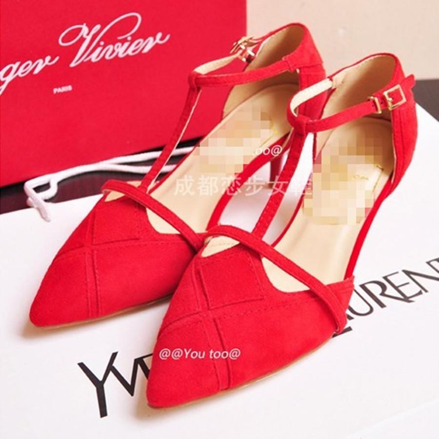 欧洲限量版RV罗杰全真皮中跟凉鞋女真皮大底红色婚鞋羊皮尖头女鞋