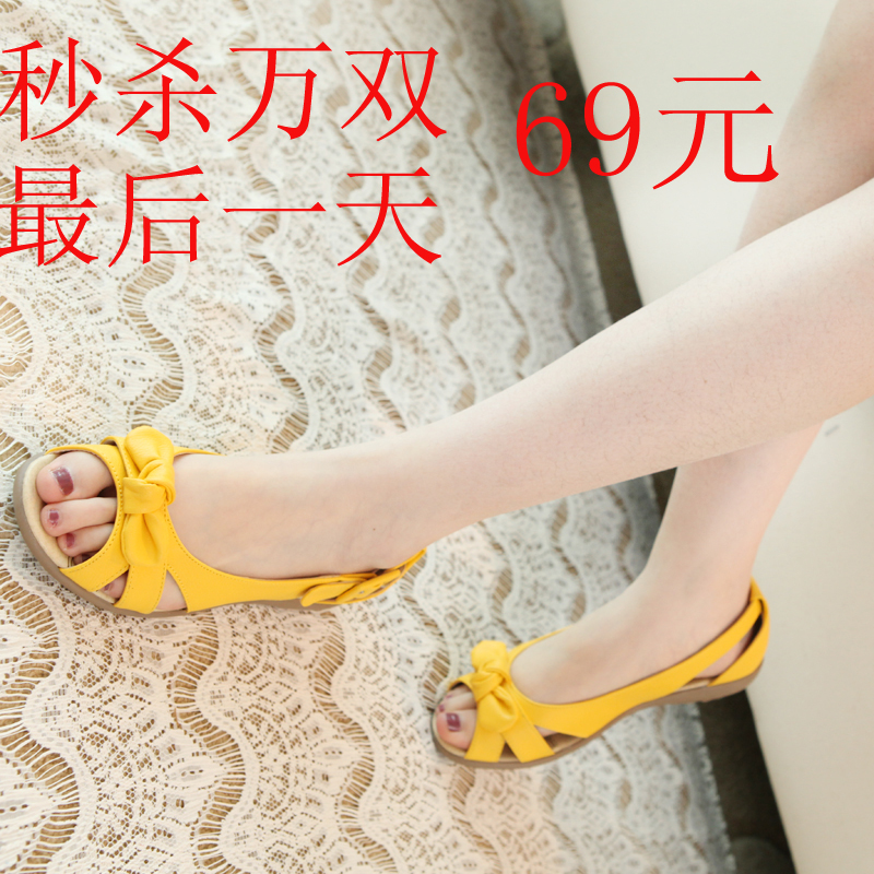 Hot bis 2013 summer girl with sweet bow Sandals tendon relaxation at the end of the fish mouth shoes