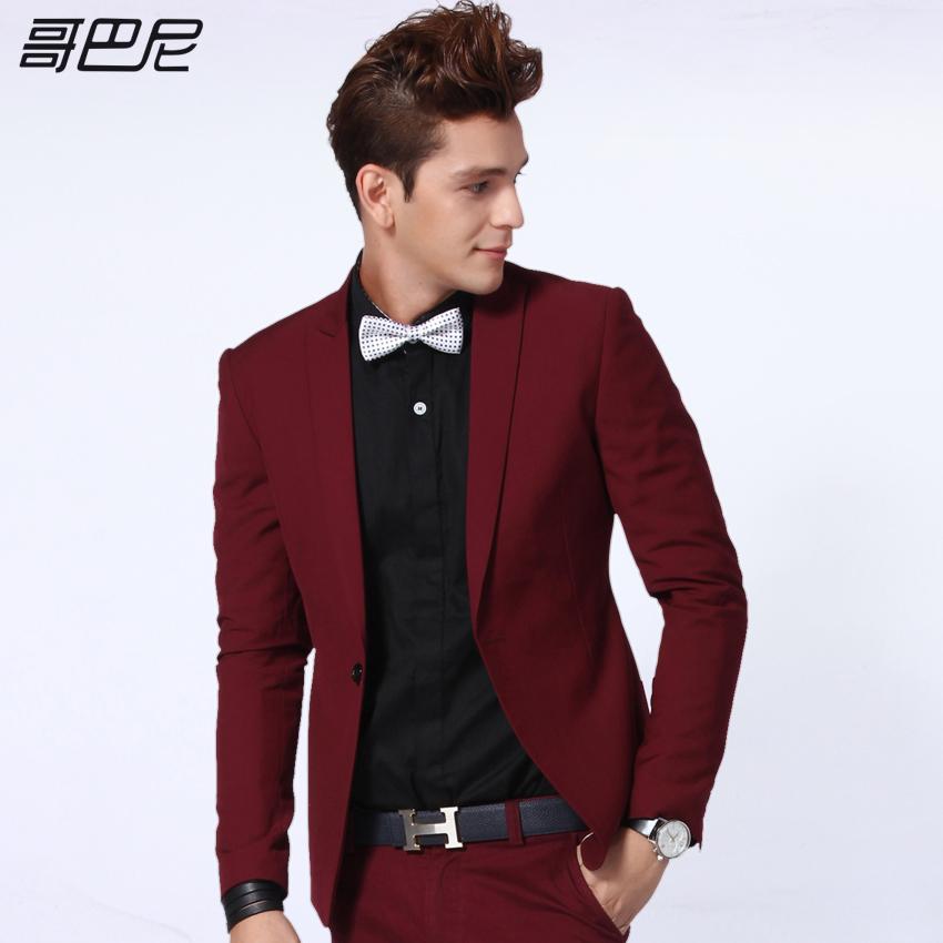 男士酒红色西服_哥巴尼春款酒红色小西装男士修身西服韩版新郎礼服休闲外套潮男装