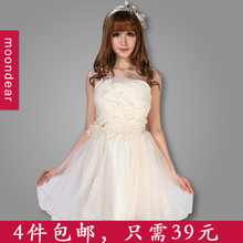 Taobao pre-sale] Shoulder Embroidery Lace Princess Pompon small dress bridesmaid dress Engagement Evening presided over the service