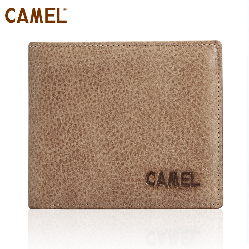 Camel camel authentic first layer nubuck leather 20 percent clip many cards men short wallet MC103059