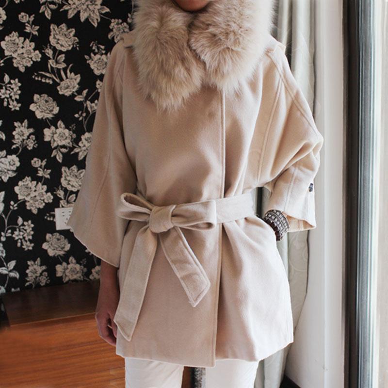 женское пальто Partysu Корейский реальных лисий мех воротник пояса свободные шляпа длинные кашемир полушерстяные пальто