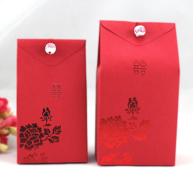维多蔓 结婚用品创意喜糖盒 喜糖袋青花瓷烫红金糖盒糖袋特价