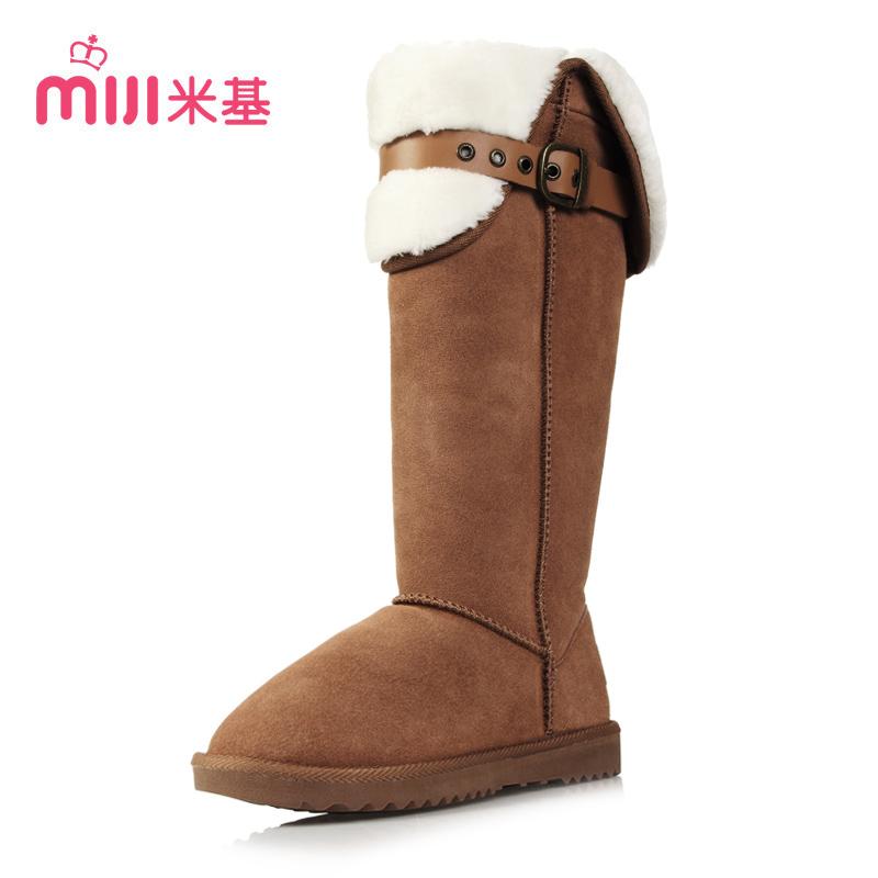 米基冬高筒雪地靴 女 真皮长筒靴子女 英伦骑士皮带扣长靴x20